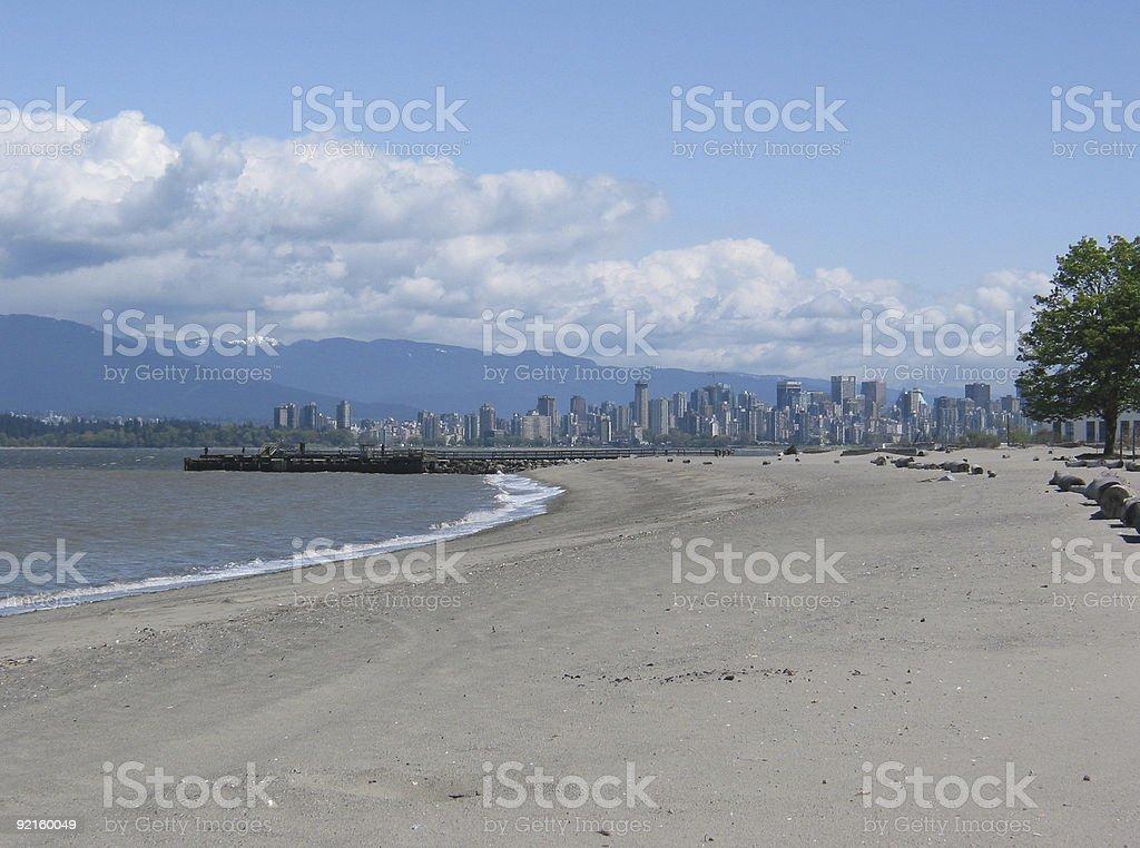 Vancouver English Bay Beach Cityscape stock photo
