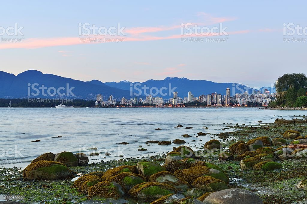 Vancouver English Bay Sunset stock photo