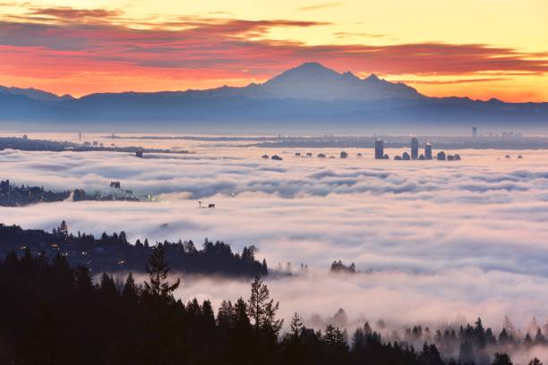 Vancouver Foggy Sunrise, viewed from Cypress Mountain lookout point stock photo