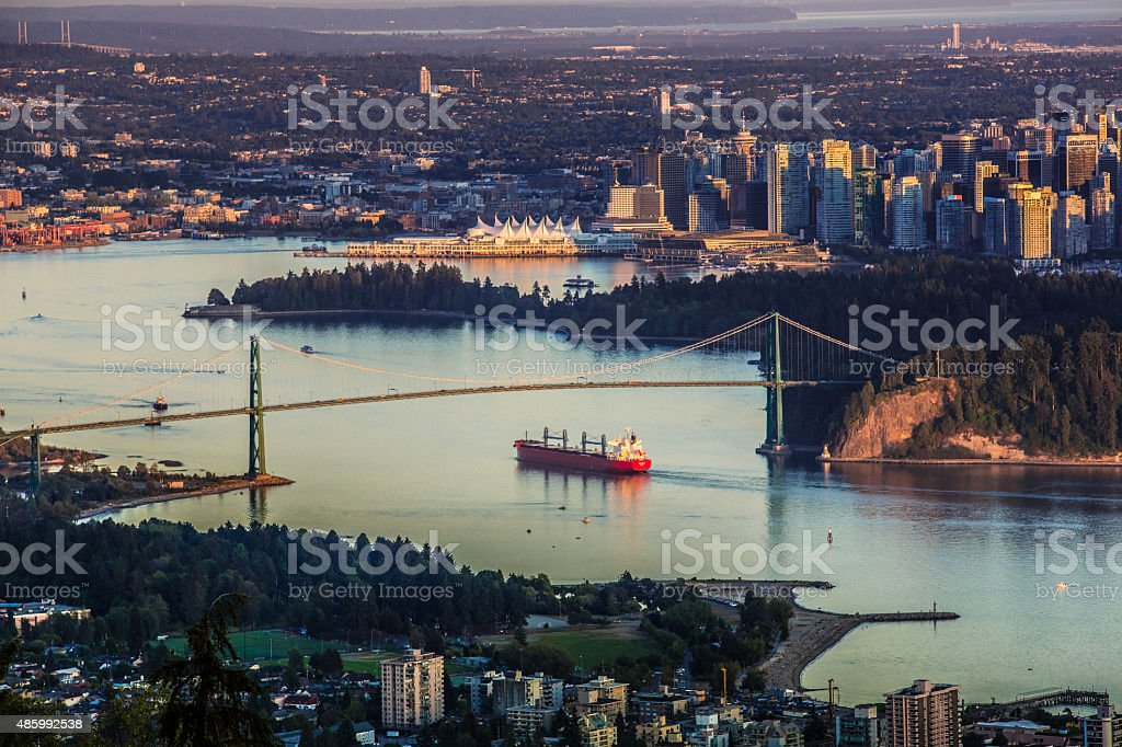 Vancouver Harbor and Lions Gate Bridge stock photo
