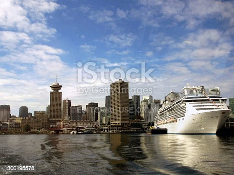 istock Vancouver harbour skyline with cruise ship in port 1300195578