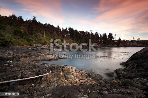 West coast of Vancouver Island at dusk.