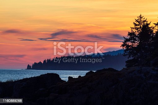 Sunset along the west coast of Vancouver Island.
