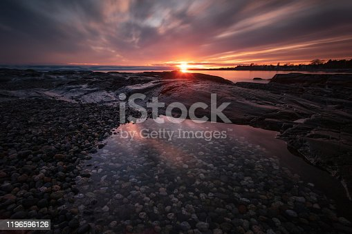 Sunset along the shores of southern Vancouver Island.