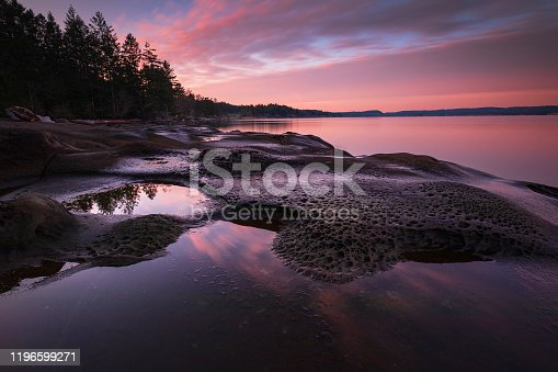 Sunset along the shores of Vancouver Island.