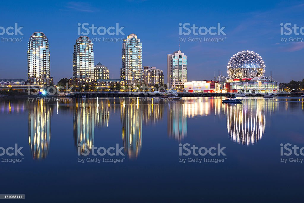 Vancouver Night View against Blue Light stock photo