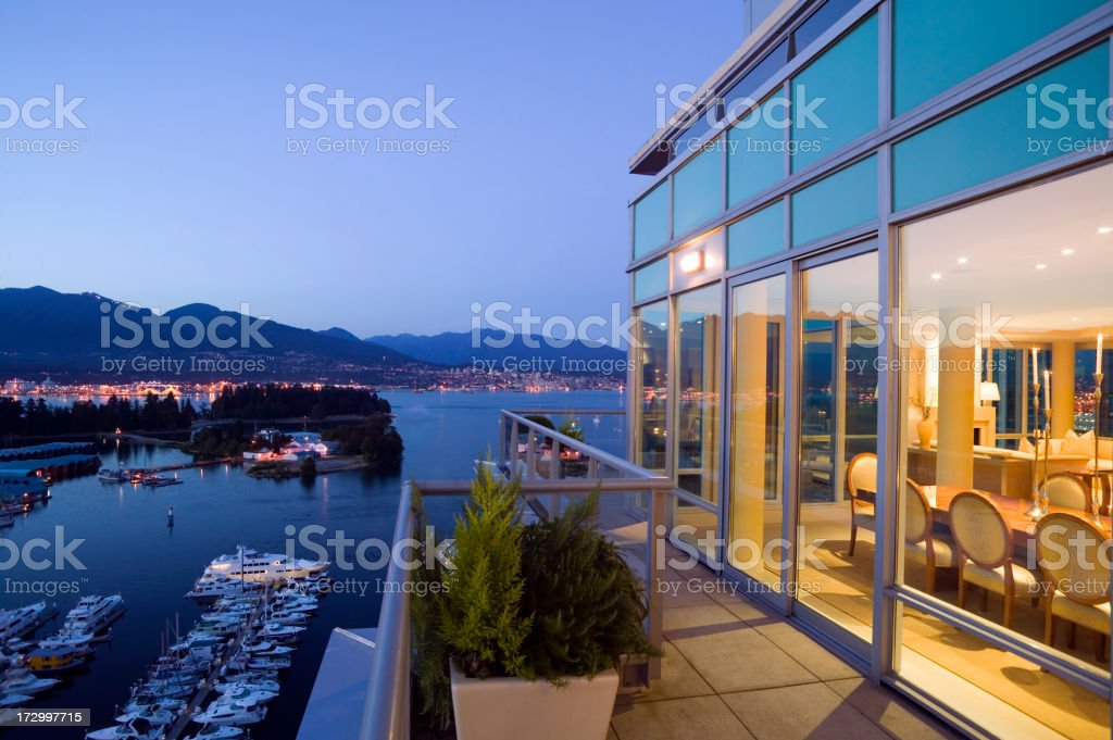 vancouver penthouse apartment stanley park coal harbor stock photo
