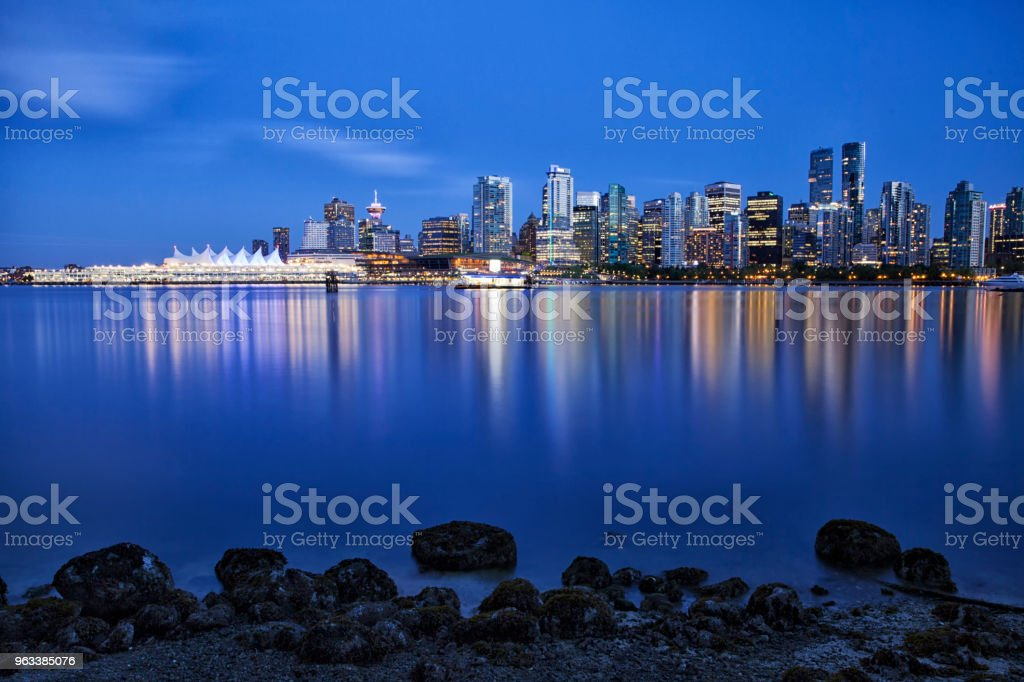 Vancouver skyline at blue hour,  Canada stock photo