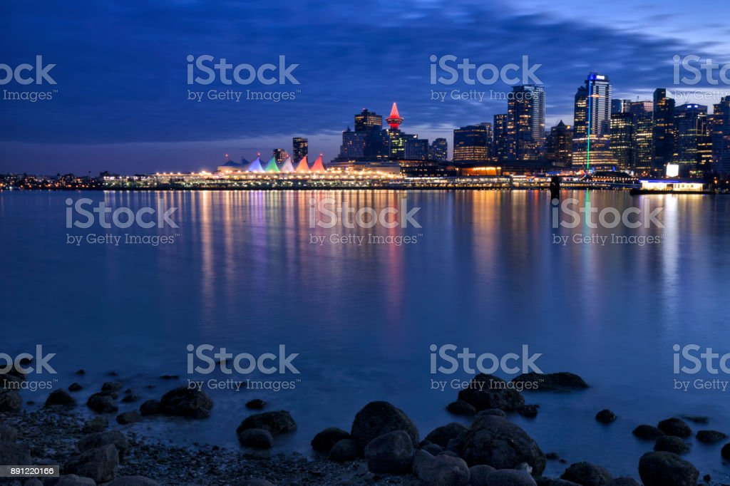 Vancouver skyline at night,  Canada stock photo