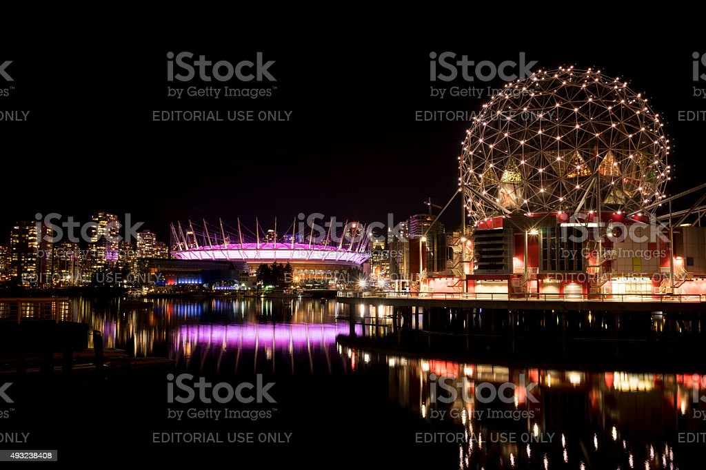 Vancouver Skyline at Night stock photo