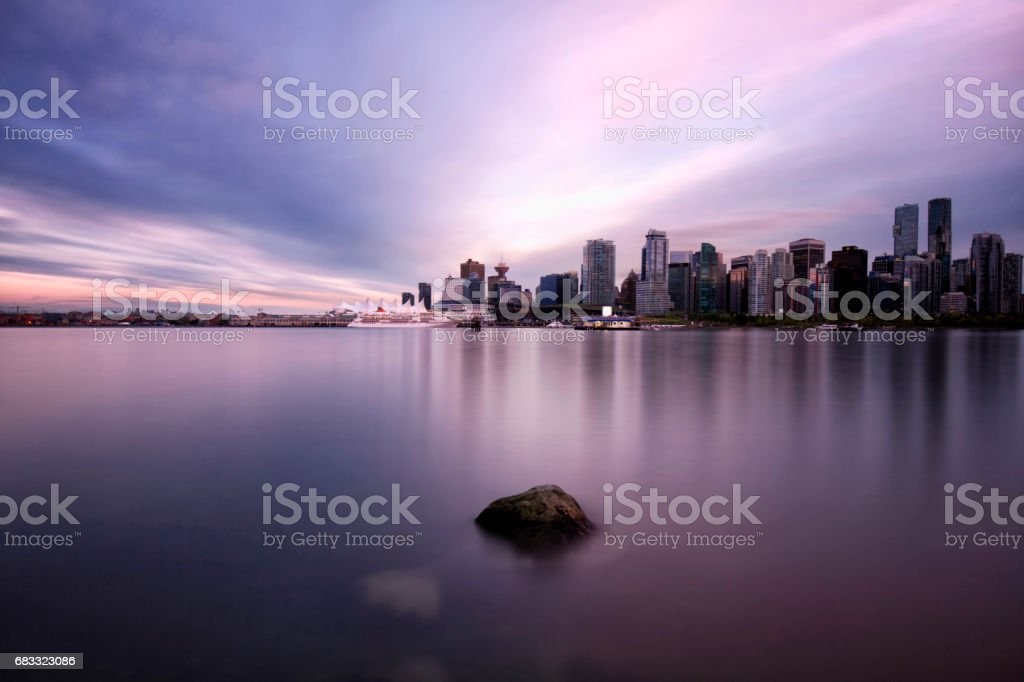 Vancouver skyline at sunset , Canada foto stock royalty-free
