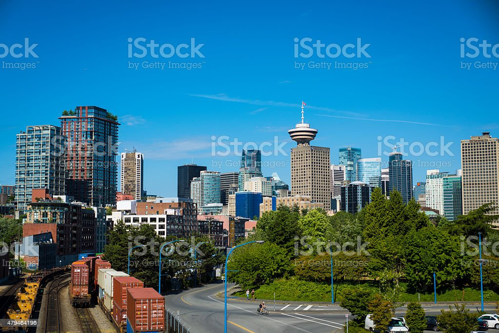 Vancouver Skyline from Gastown stock photo