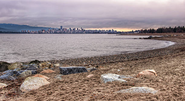Vancouver Skyline From Jericho Beach stock photo