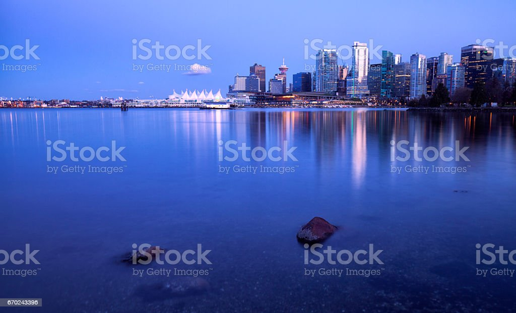 Vancouver skyline in blue hour, Canada stock photo