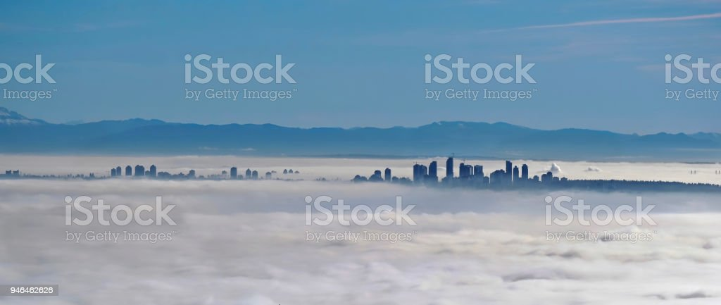 Vancouver skyline in fog. stock photo