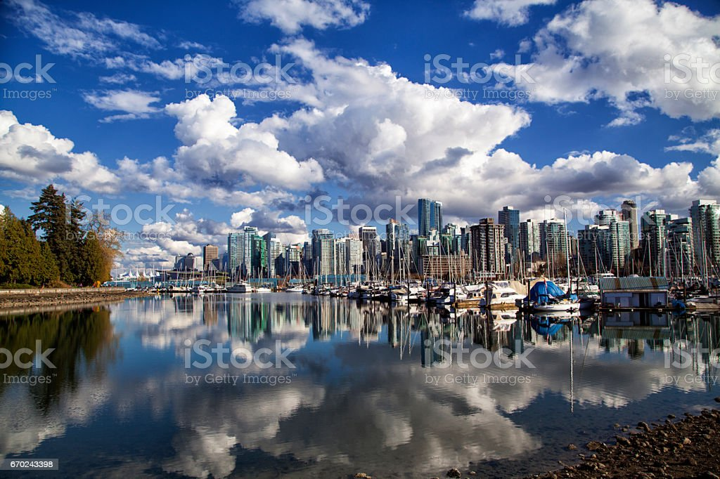 Vancouver skyline reflection, Canada stock photo