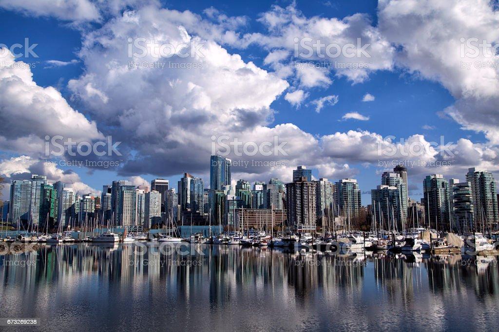 Vancouver skyline reflection, Canada stock photo