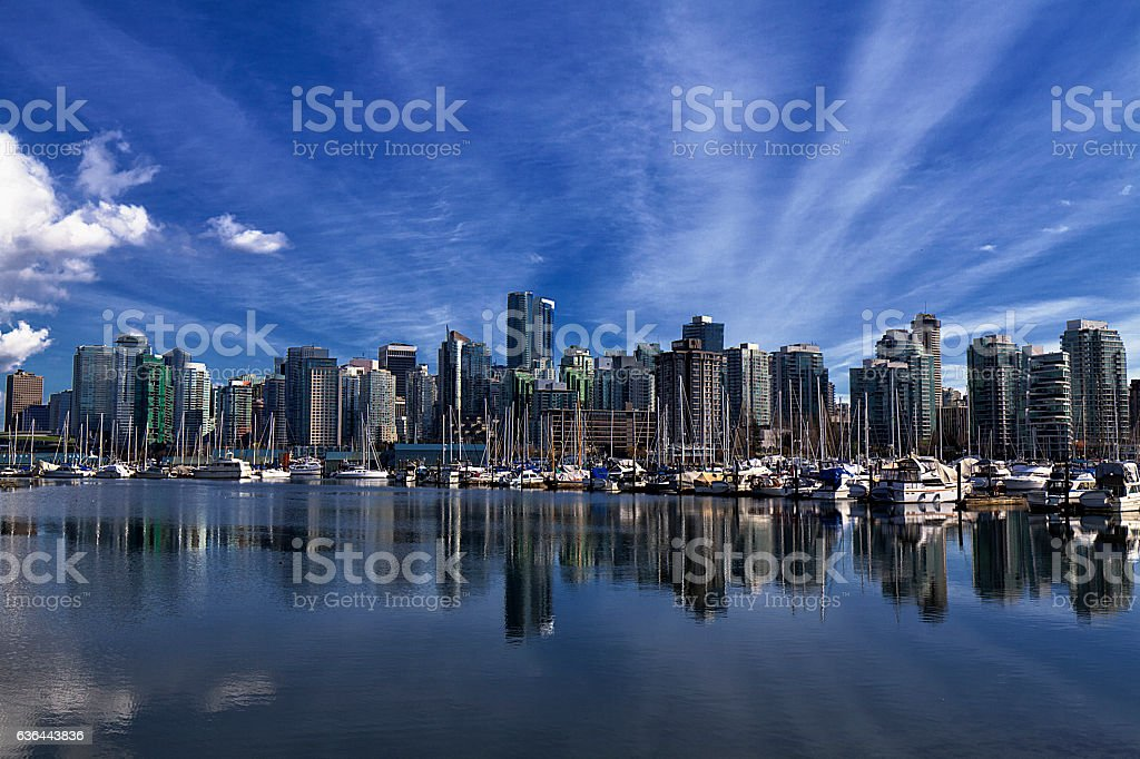 Vancouver skyline reflections stock photo