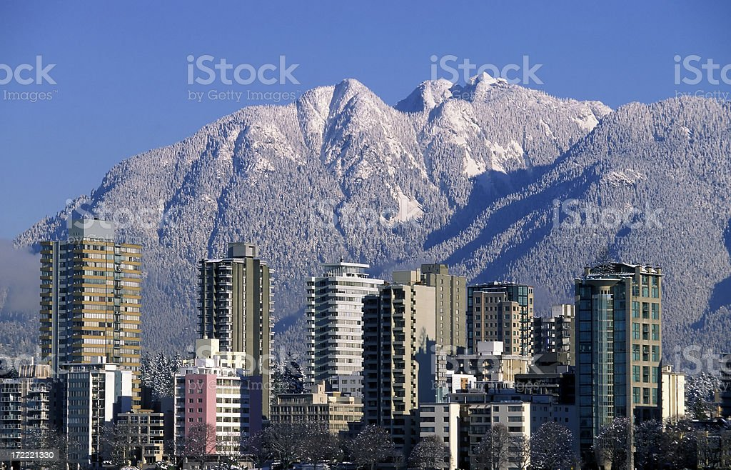 vancouver skyline winter snow stock photo