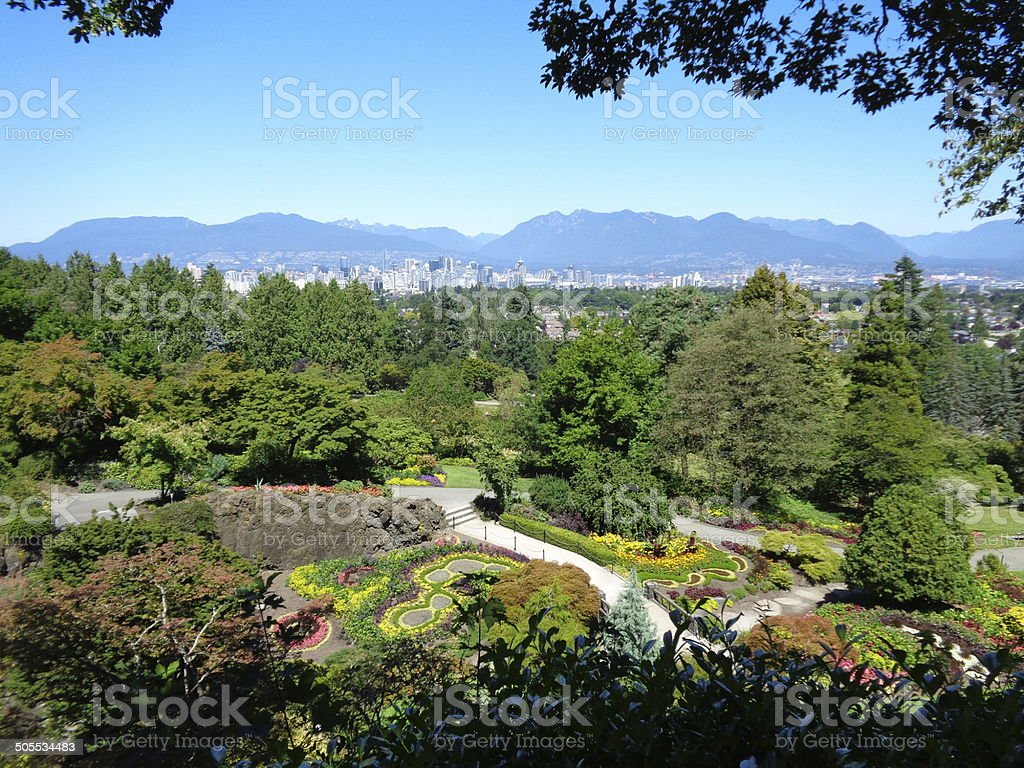 Vancouver skyline with garden and mountains stock photo
