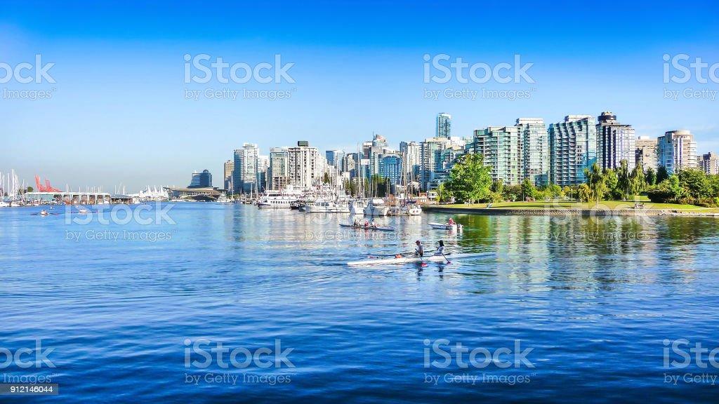 Vancouver skyline with harbor, British Columbia, Canada stock photo