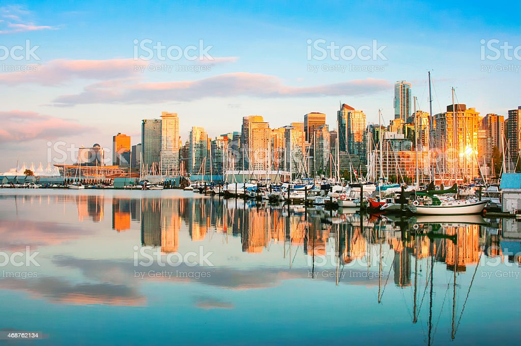Vancouver skyline with Stanley Park at sunset, BC, Canada stock photo