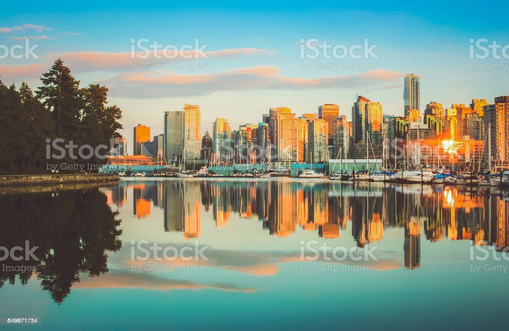 Vancouver skyline with Stanley Park at sunset, British Columbia, Canada stock photo