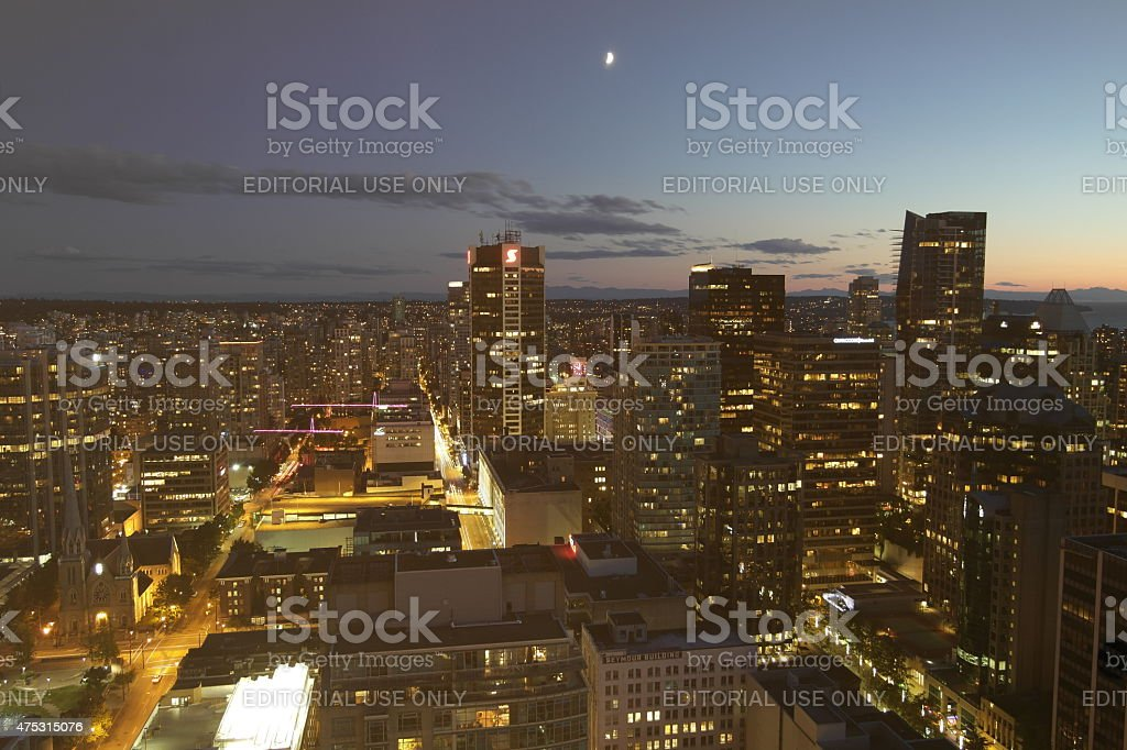 Vancouver Skyline with the moon stock photo