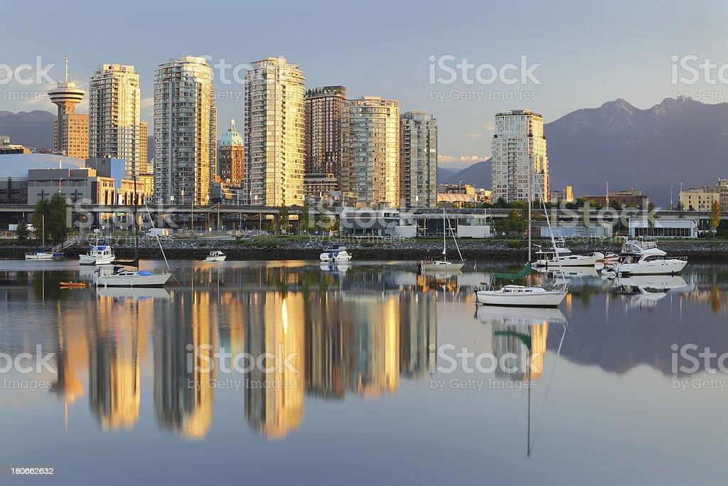 Vancouver Sunrise Reflection, False Creek royalty-free stock photo