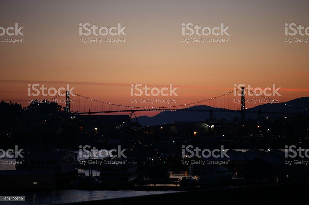 Vancouver Sunset Overlooking Lions Gate Bridge stock photo