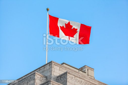 View of Canadian flag on Vancouver Town Hall
