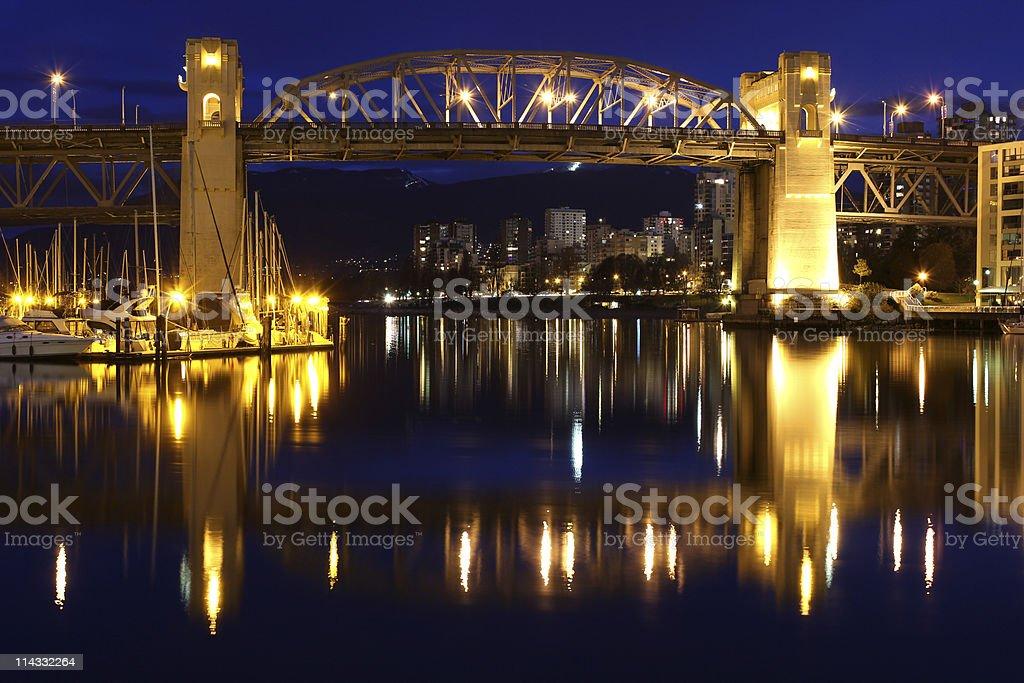 Vancouver Twilight, Burrard Street Bridge royalty-free stock photo