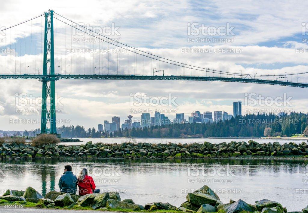 Vancouver under a bridge stock photo