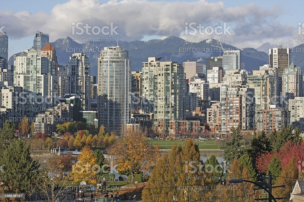 Vancouver Urban Skyline in False Creek North and Autumn Foliage royalty-free stock photo