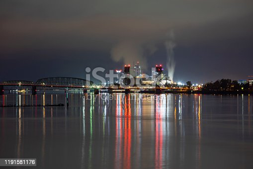 Night time view of Vancouver, Washington and the I-5 bridge.