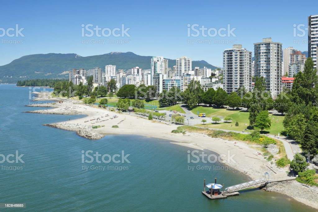 Vancouver waterfront and skyline during the day stock photo