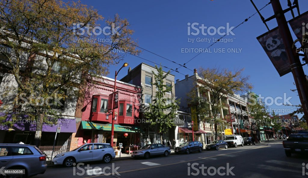 Vancouver's Chinatown, Pender Street, Canada in Autumn stock photo