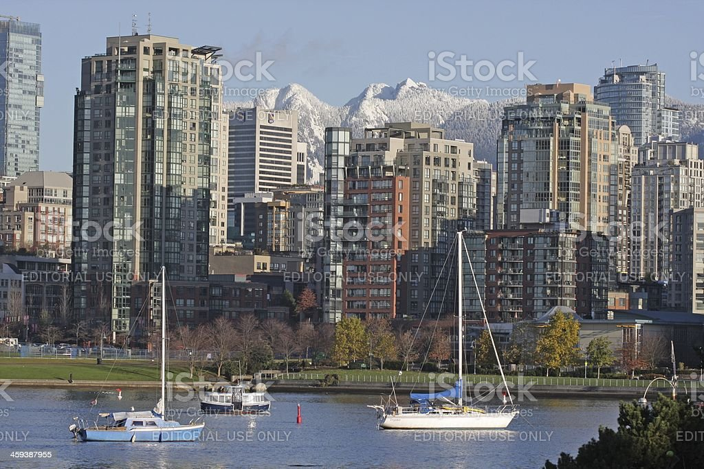 Vancouver's False Creek and North Shore Mountains royalty-free stock photo