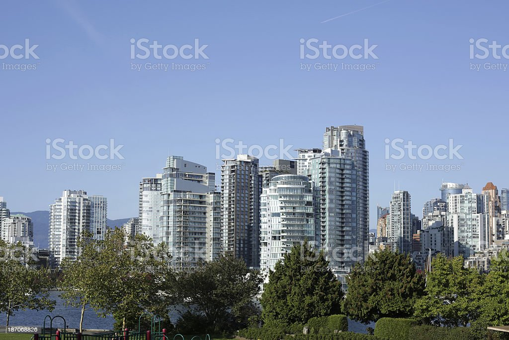 Vancouver's False Creek and Yaletown Apartment Towers in Autumn royalty-free stock photo