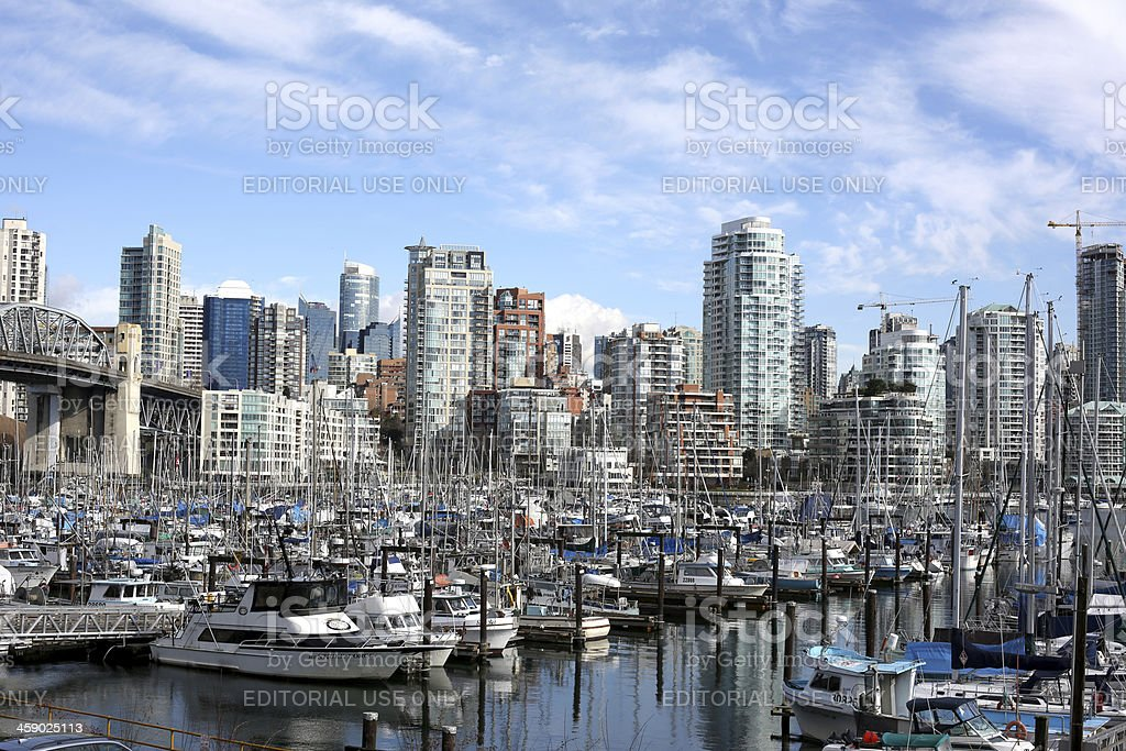 Vancouver's False Creek, Marina and Yaletown High-Rises in Winter, Canada royalty-free stock photo