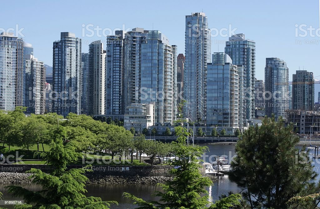 Vancouver's False Creek, Yaletown and Granville Island in Summer royalty-free stock photo