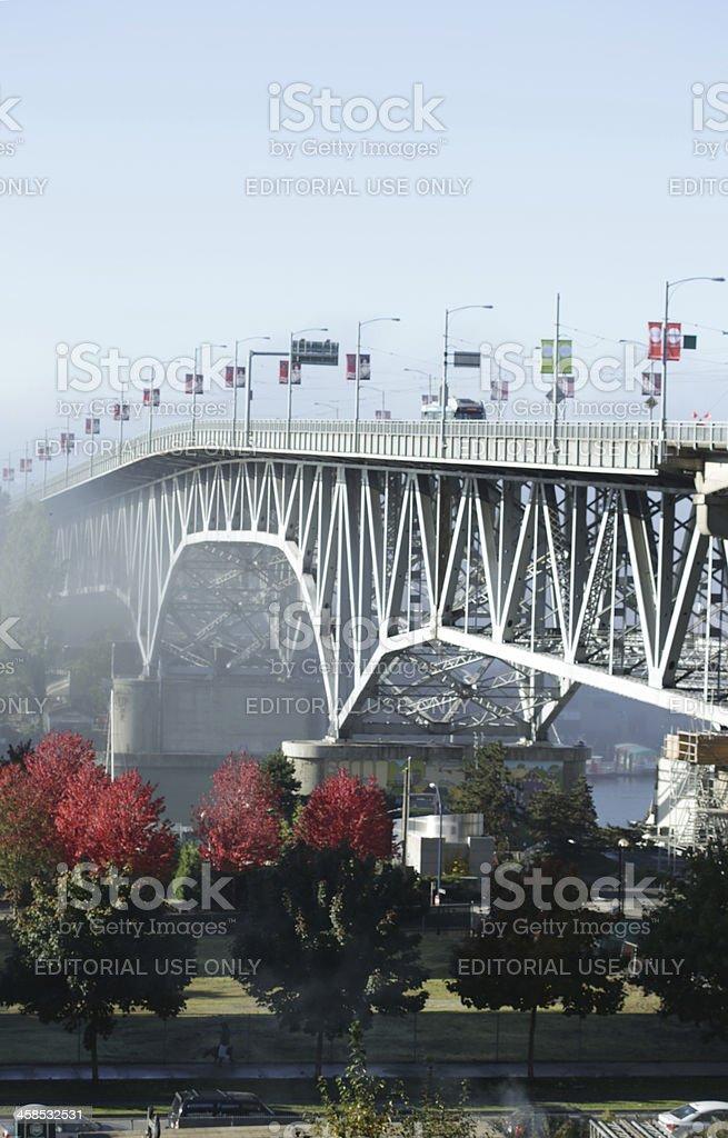 Vancouver's Granville Bridge above False Creek in the Fog royalty-free stock photo