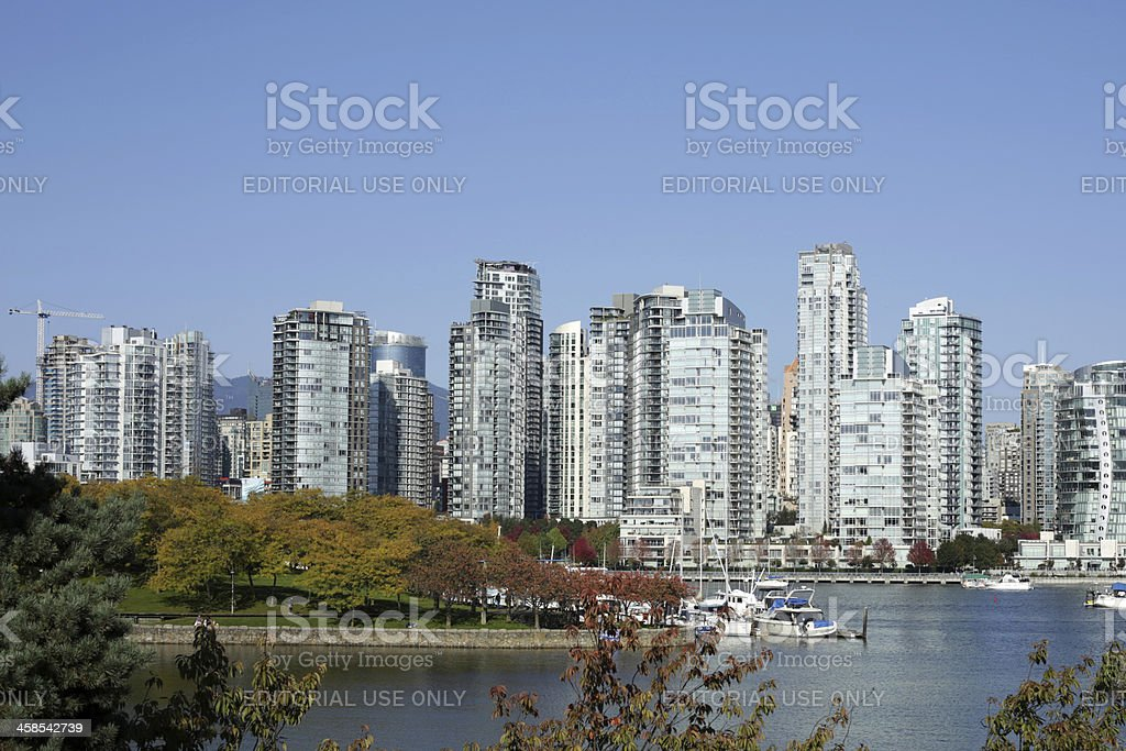 Vancouver's Granville Island and Yaletown in False Creek North royalty-free stock photo