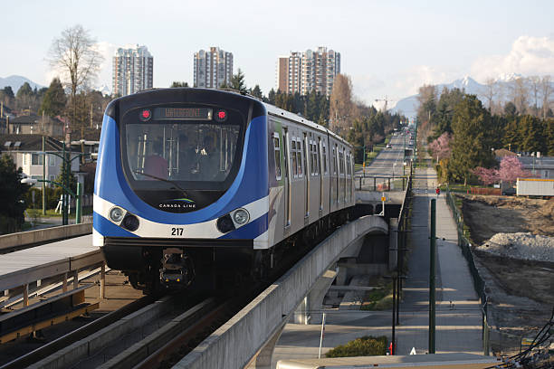Vancouver's SkyTrain on the Canada Line, Marine Drive Station stock photo