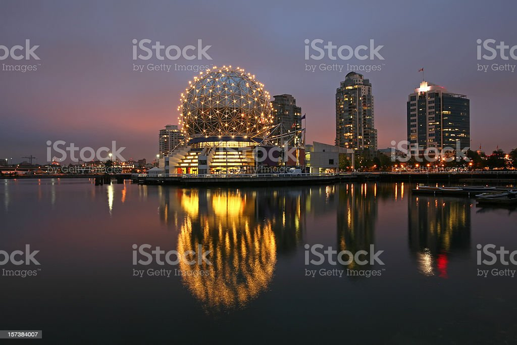 Vancouver's Sparkling  World Of Science. Close Up Reflections And Lights. stock photo