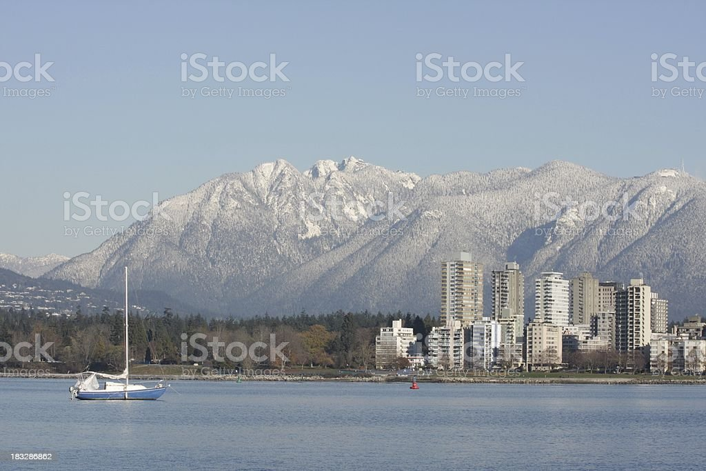 Vancouver's West End and English Bay with Snow-Capped Mountains, Canada stock photo