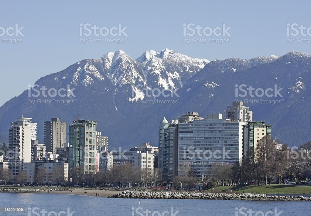 Vancouver's West End High-Rises and North Shore Mountains, Early Spring stock photo