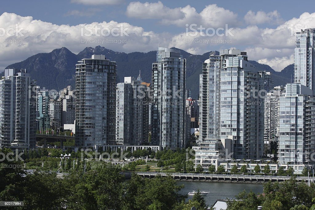 Vancouver's Yaletown Buldings and North Shore Mountains, Canada in Summer stock photo
