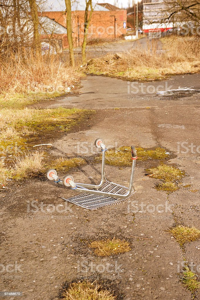 Vandalised Trolley on Wasteground in Dudley, UK royalty-free stock photo