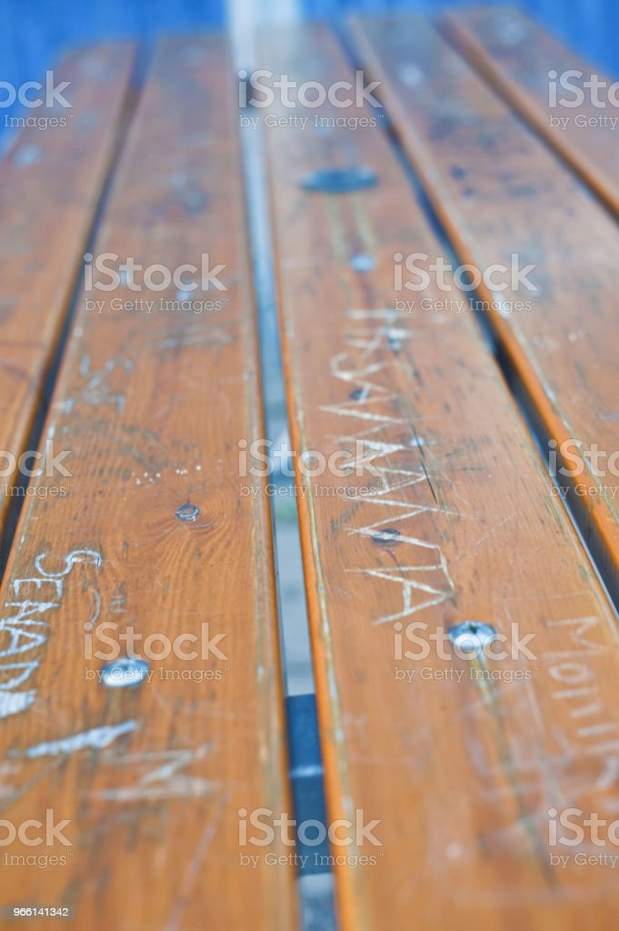 Vandalised Wooden Park Bench - Стоковые фото ASBO роялти-фри
